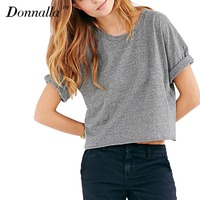 Donnalla Summer Style Harajuku Cute Women T Shirt Cotton Crop Top Gray T Shirt Short Sleeve