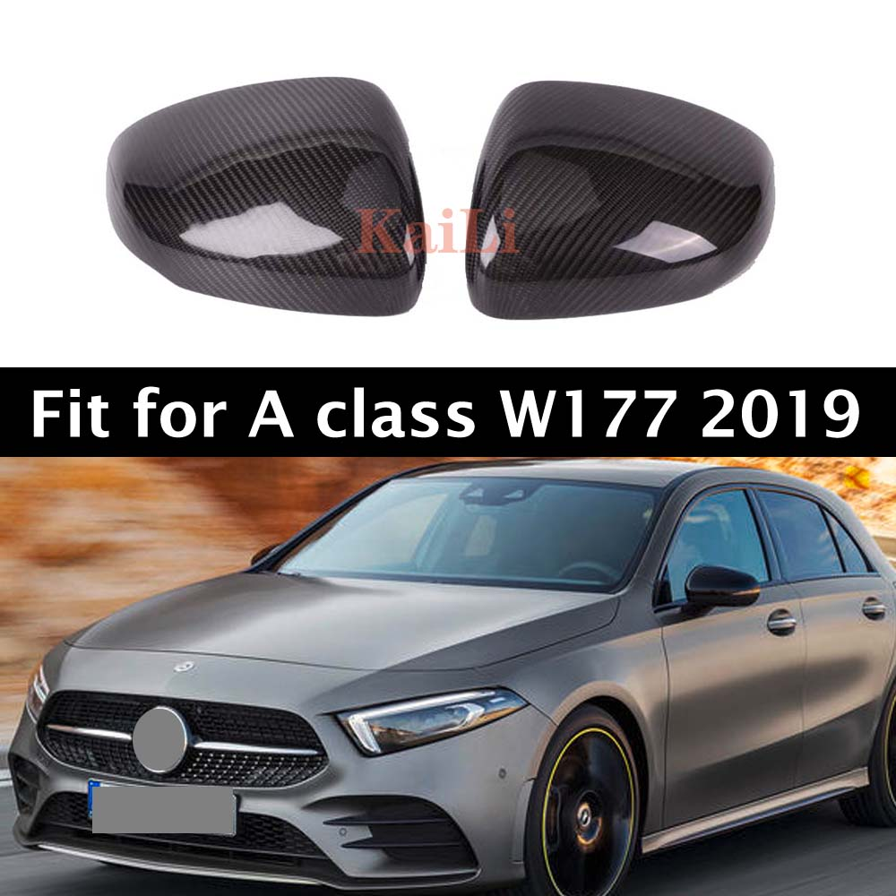 Carbon Fiber Mirror Caps Replacement For Mercedes A class W177 Door Side Protector Cover 2019