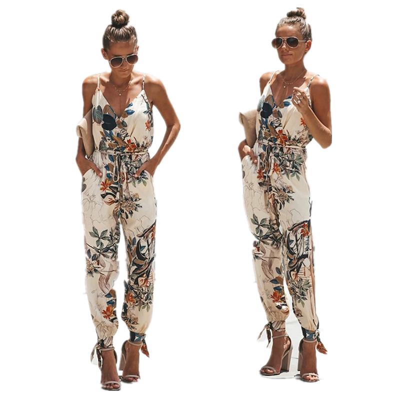 Summer Women   Jumpsuits   Playsuit V Neck Floral Printed with Belt Rompers Sexy Loose Backless Women Bodysuits Pockets Harajuku N34