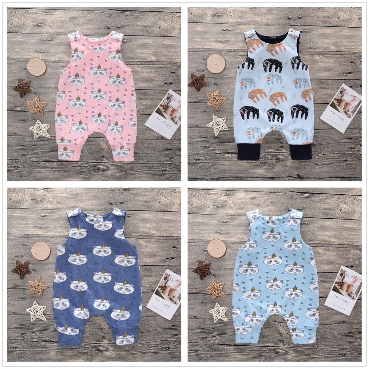 0-2y Unisex Pasgeboren Meisje Romper Peuter Jongen Kleding Katoen Rompertjes Zomer Roze Jumpsuit Baby Blauw Cartoon Panda Baby Playsuit Pure Witheid