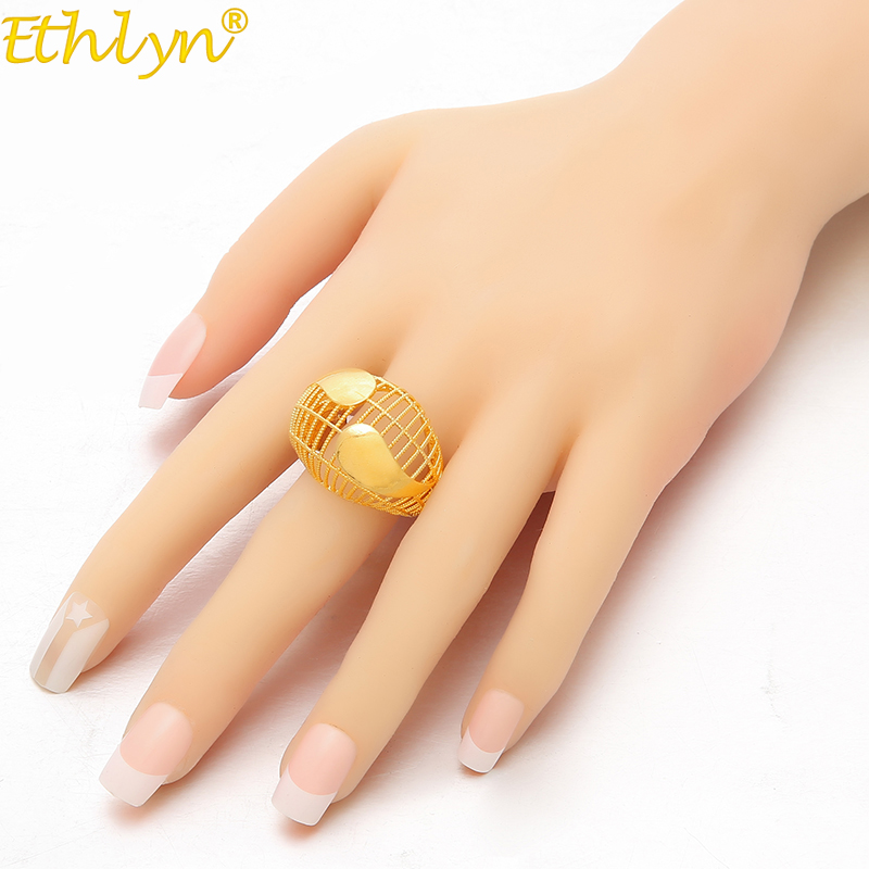 Ethlyn Jewelry Ethiopian Hollow Ring for Women/Teenage Girls Gold Color Charm Party Jewelry African Arab Items R77