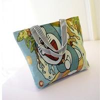 Embroidery 3D Cartoon Pattern Shoulder Shopping Bag Classic Cat Handbag Large Capacity Canvas Tote Bag