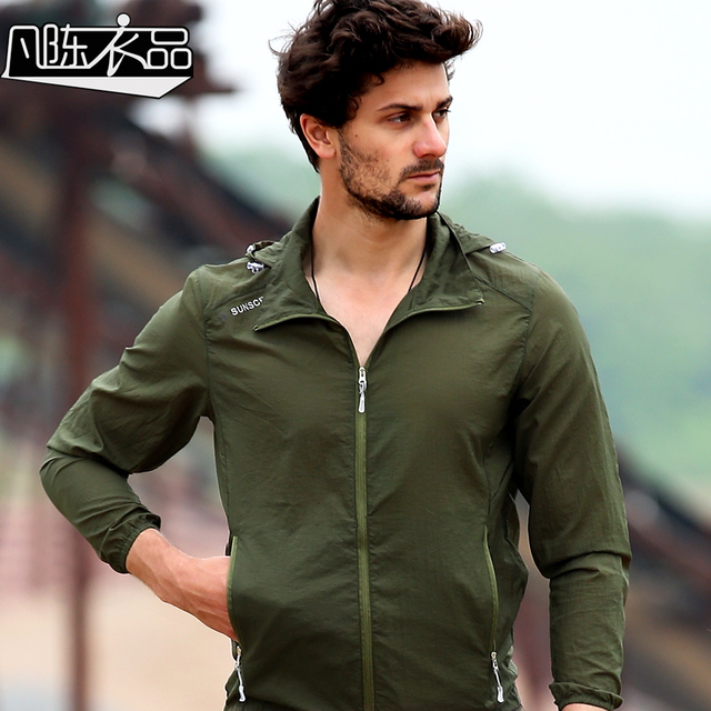 New casual fashion Men's New casual Thin sunscreen clothing summer breathable skin windbreaker dry coat free shipping