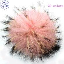 15-16 см круглый пушистый натуральный мех енота помпоны для сумок брелки и вязаная шапочка шапки из натурального меха помпон