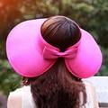 Sol de moda el Sombrero Sombreros de Verano para Las Mujeres 2017 de la Señora Plegable Rollo Up Beach Girls Sombreros de Ala Ancha de Paja Sombrero de Visera Casquillo chapeu feminino