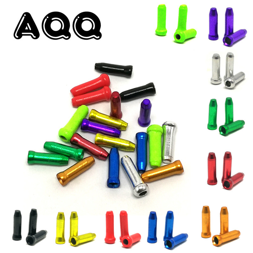 50Pcs/Lot Aluminum Alloy Bicycle Cable End Caps MTB Road Bike Brake Cable Cap Wire End Cap Fits For Brake Shift Derailleur Cable