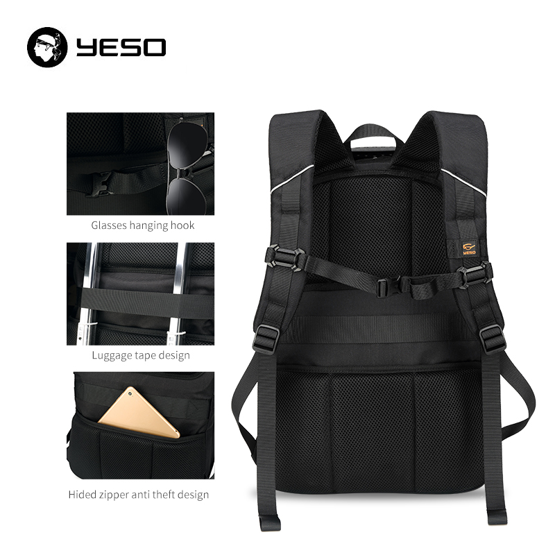 YESO USB Charging Backpack Men Large Capacity Multifunction Teenager Waterproof Oxford Travel Laptop Backpacks For Women Men Bag