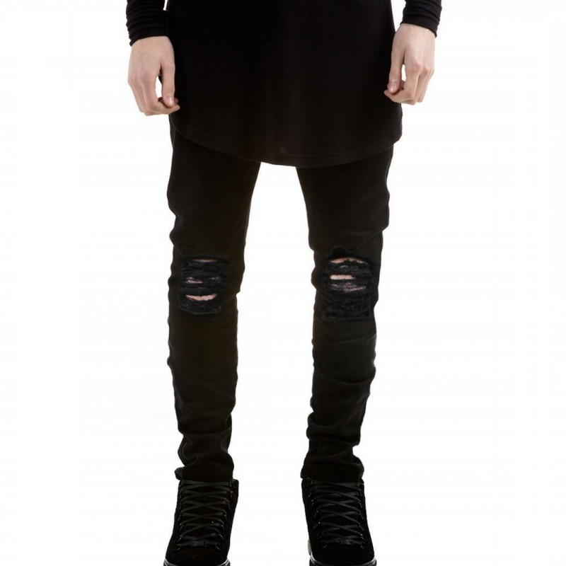 New Fashion Black Ripped Hip-hop Biker Jeans stretched men's Jeans pantalones vaqueros hombre bmy6607 biker jeans mens brand black skinny ripped zipper full length pants hip hop cotton denim distressed pantalones vaqueros hombre