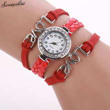 Style Ladies Watches Infinity Love Hand-knitted Leather-based Chain Quartz Wristwatch Clock wholesale v