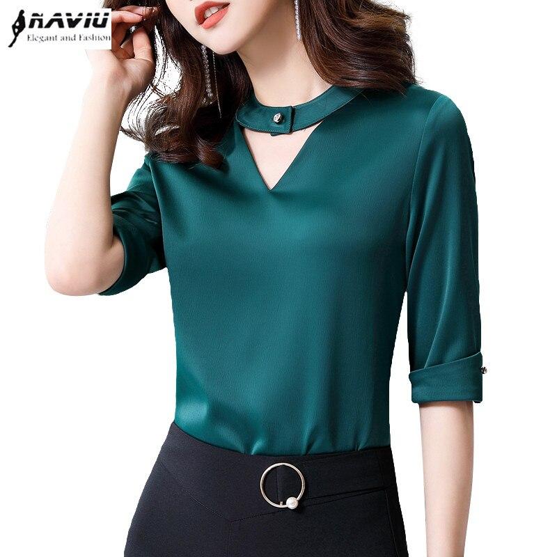 df30085056 Mode Manches Vêtements Office Haut green Tempérament V Cou Lâche Chemise En  Mince Mousseline D'été Blouses 2019 Nouvelle ...