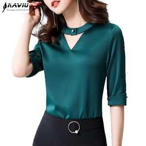 Image 1 - Chiffon Shirt Women 2019 Summer New Fashion Clothes Temperament Slim V Neck Half Sleeve Blouses Office Lady Loose Business Tops