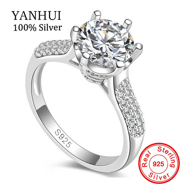 Luxury Pure Silver Wedding Rings Brand Jewelry Sona Stone 8mm Cz Ring 925 Sterling Engagement
