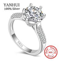 Luxury Pure Silver Wedding Rings Brand Jewelry SONA Stone 8mm CZ Ring 925 Sterling Silver Engagement Rings for Women JZR123