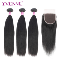 Yvonne Brazilian Virgin Straight Hair Bundles with Closure 3 Bundles Human Hair Weave With 4x4 Lace Closure Natural Color