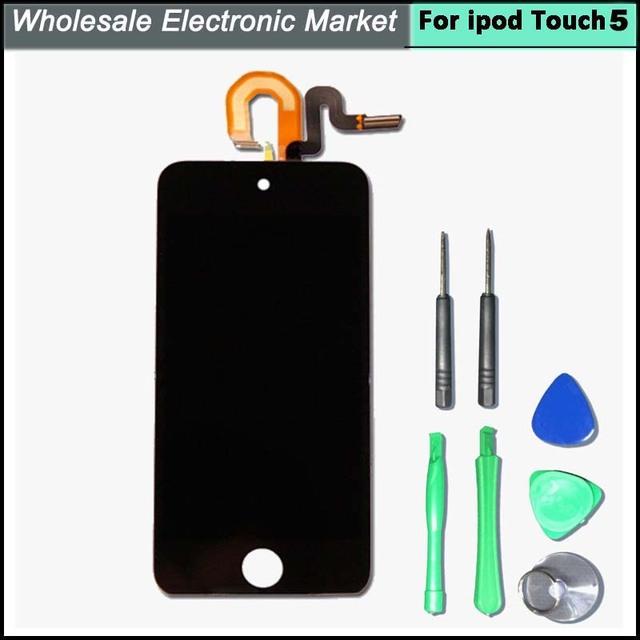 LCD de alta qualidade para o ipod touch 5 gen LCD Assembléia screen display com toque digitador preto para ipod5 frete grátis