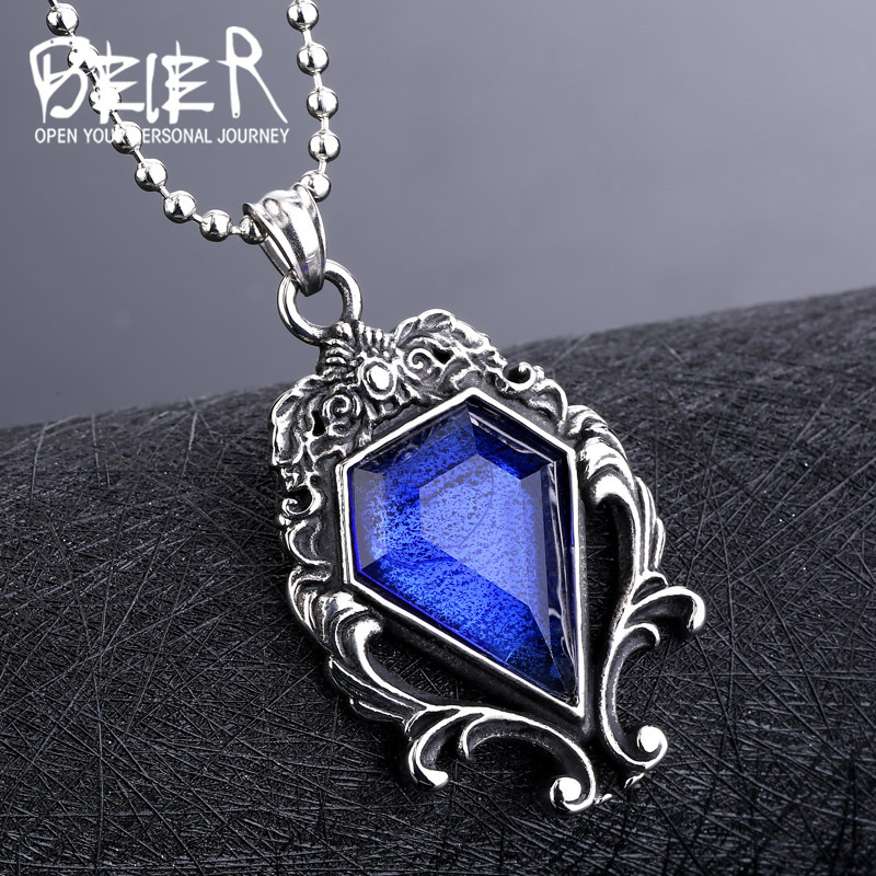 Beier new store 316L stainless  steel Pendant Necklace men women magic mirror blue stone fashion Jewelry LLBP8-141P