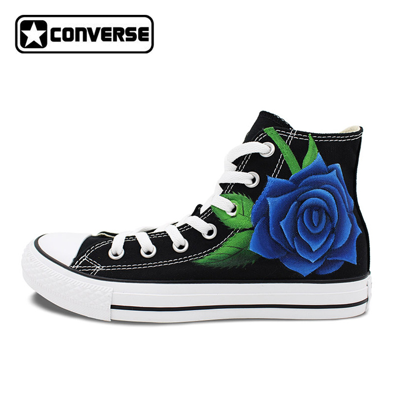Sneakers Men Women Converse All Star Blue Roses Original Design Hand Painted Shoes High Top Black Canvas Skateboarding Shoes mens converse shoes custom hand painted hunger game high top black canvas sneakers unique presents