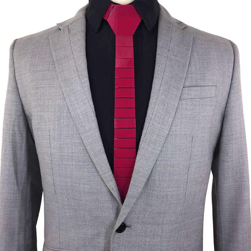 Instagram Best Selling Striped Slim Hex Ties Silk Satin Magenta Skinny Fashion Neckties Paisley Purple Shinny Glossy Ties Casual