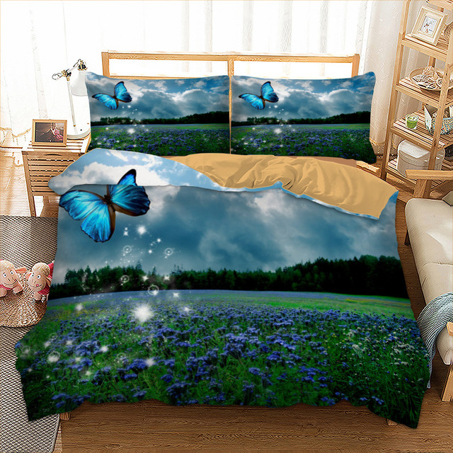 Spring Butterfly bed linen set quilts and bedding sets Twin Full Queen King UK Double AU Single Size Plant duvet Pillow Cases