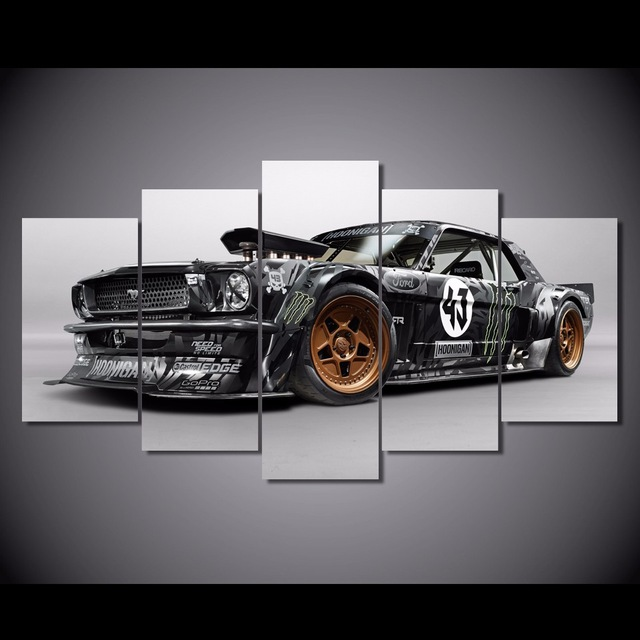5 Panels Fashion Ford Mustang Rtr Car Paintings Wall Art Home Decoration 5 Piece Prints Canvas