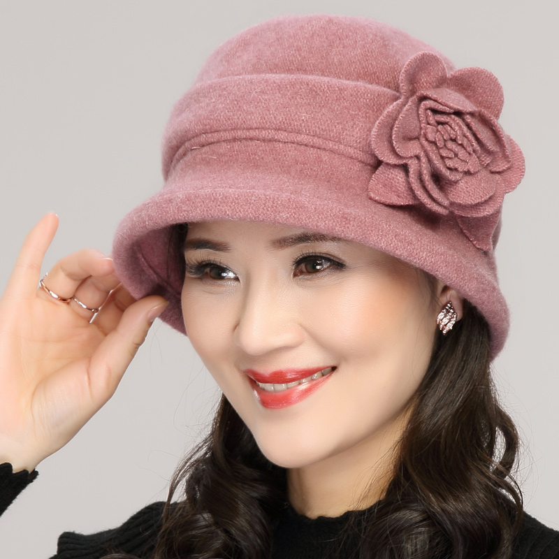 Spring Autumn Woolen Bucket Hat Women Winter Middle Age Elderly Thin Fisherman Cap Grandmother Mother Elegant Fashion Hats H7152