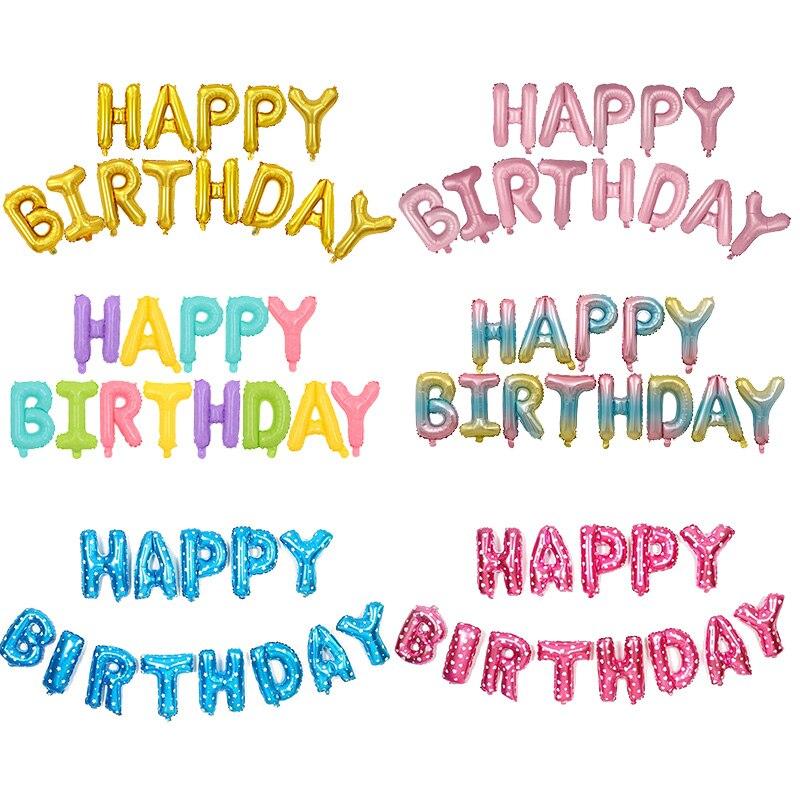 16inch Happy Birthday Balloons Baby Boy Girl 1st Birthday Decoration Foil Balloons Children Happy Birthday Letter Baloon Globos