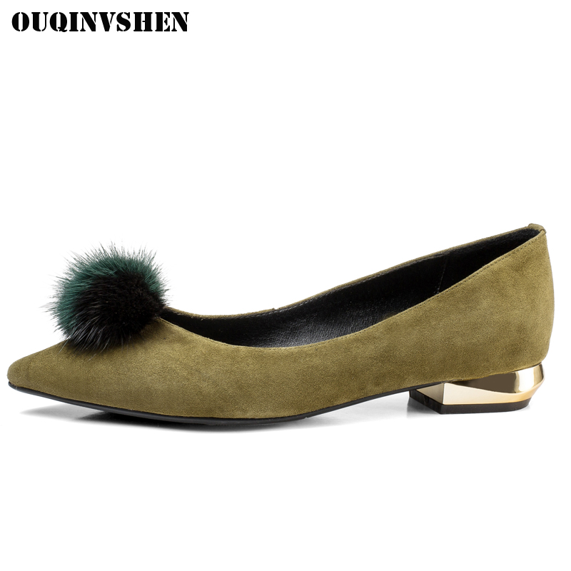 OUQINVSHEN Pointed Toe Square heel Women Pumps Casual Low heel Shallow Women Single Shoes 2018 Spring Hair ball Women's Pumps 2018 spring summer low heel sandals pointed toe shallow mouth women shoes woman cozy casual shoes leisure single ladies shoes cy