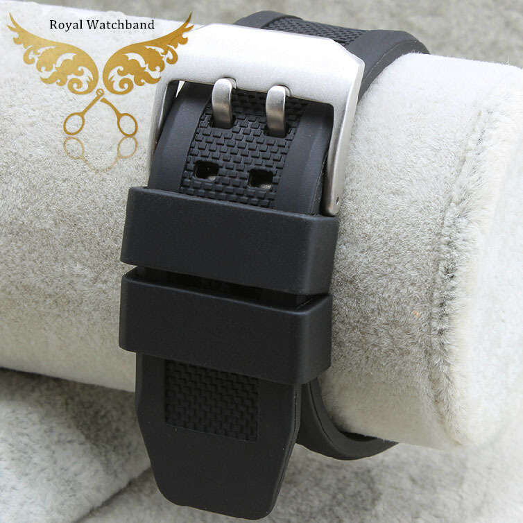 NEW 23mm Black Waterproof Diving Silicone Rubber Watch band Strap Silver Brushed Steel Buckle Clasp Free Shipping new 24mm italy black genuine leather watch band strap silver brushed stainless steel buckle clasp for brand free shipping