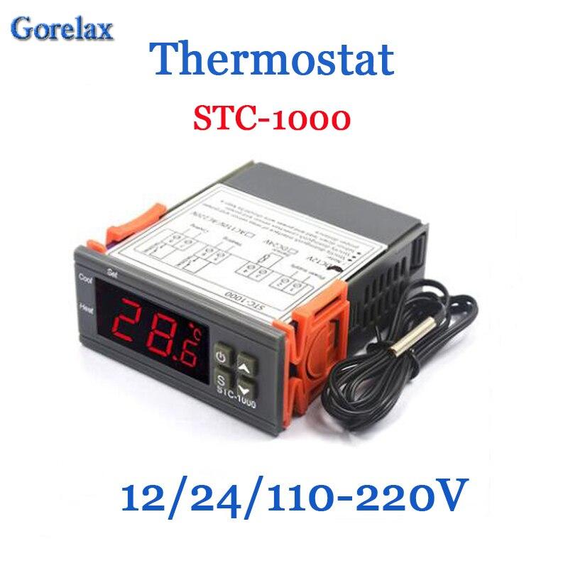 Termorregulador de temperatura do termostato de digitas controlador 12 v 24 v 220 v, incubadora termometro do termostato da sala stc 1000