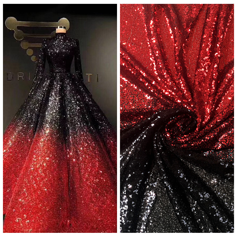 Image 3 - LASUI NEW 20 colors available 3MM encryption sequin gradient mesh lace fabric Evening dress show clothe Party dress fabric W0041Fabric   -