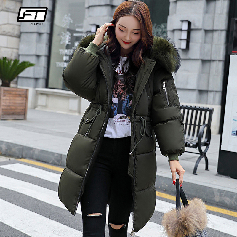 Fitaylor New Winter Women Cotton Jacket Coat Hooded Warm Large Fur Collar Long Snow   Parkas   Female Thick Army Green Outerwear