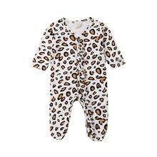 Детская весенне-осенняя одежда хлопковый комбинезон с леопардовым принтом для новорожденных мальчиков и девочек, одежда с оборками для детей от 0 до 9 месяцев
