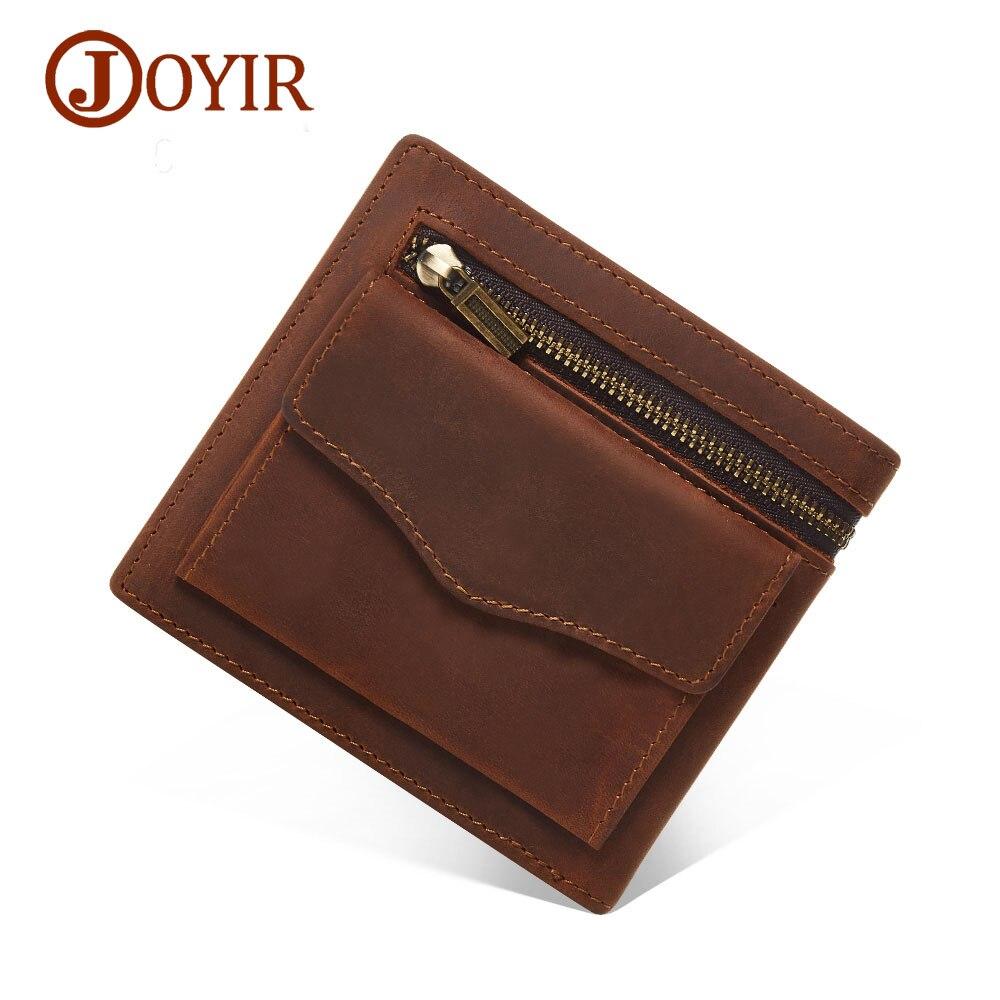 JOYIR Men Genuine Leather Wallet Short Small Wallet Male Slim Purse Mini Wallet Coin Purse Money