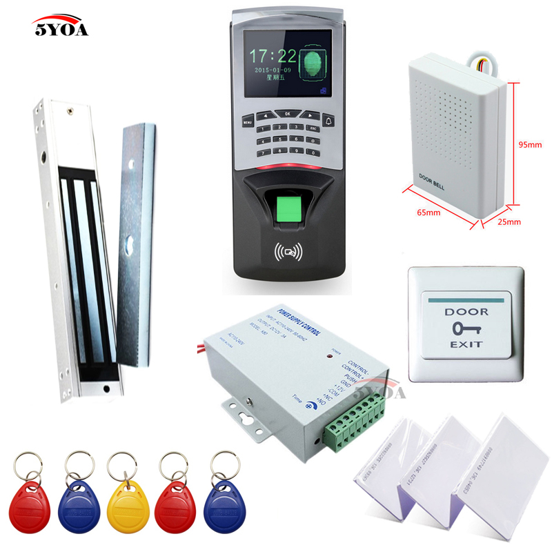Fingerprint RFID Access Control System DIY Kit Glass Door Gate Opener Set Electronic Magnetic Lock ID Card Power Supply Button electric magnetic lock fingerprint rfid card access control system kit power supply door switch button