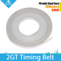 5M Lot 3D Printer Part Accessory PU With Steel Core GT2 Open Timing Belt Width 6mm
