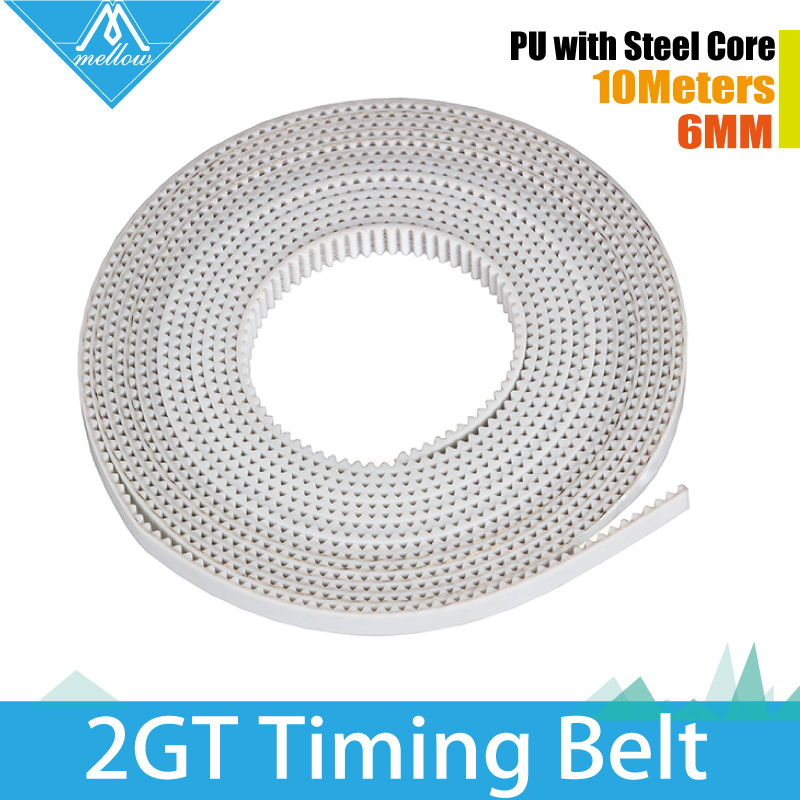 10M lot 3D Printer Accessory 2GT 6MM PU with steel core GT2 Open Timing Belt Width