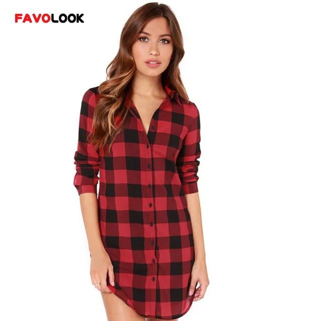 fb64b66837 2018 chemise à carreaux femme collège Style femmes Blouses à manches  longues flanelle chemise de grande