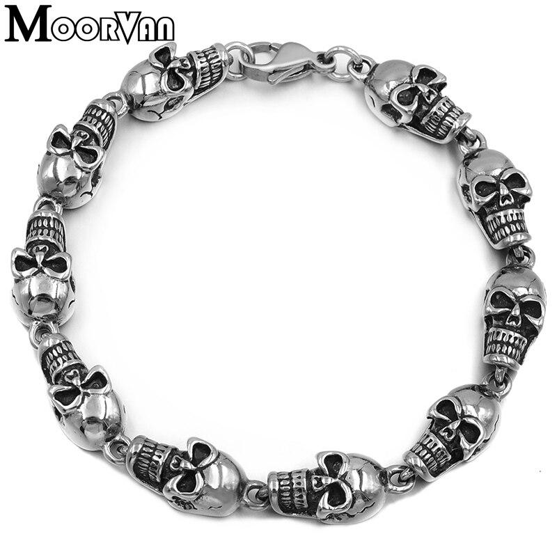 Moorvan ROCK/PUNK Skull Link Bracelets Hand Chain Casting 316L Stainless Steel Mens Jewellery, retail+wholesale VB074