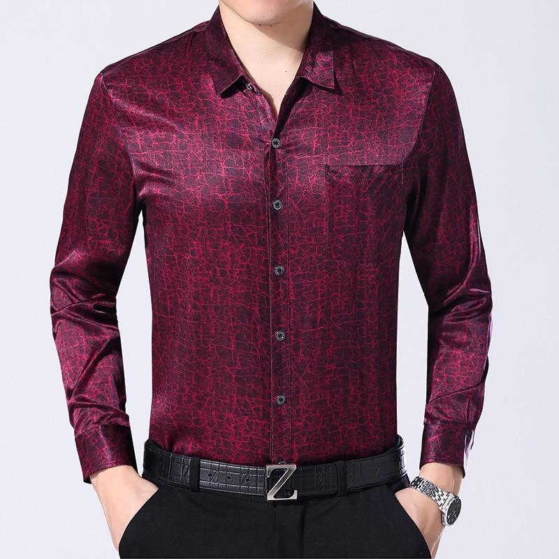 92.5% Silk Shirt Men Long Sleeved Silk Shirt Men Thin Silk Shirt silk