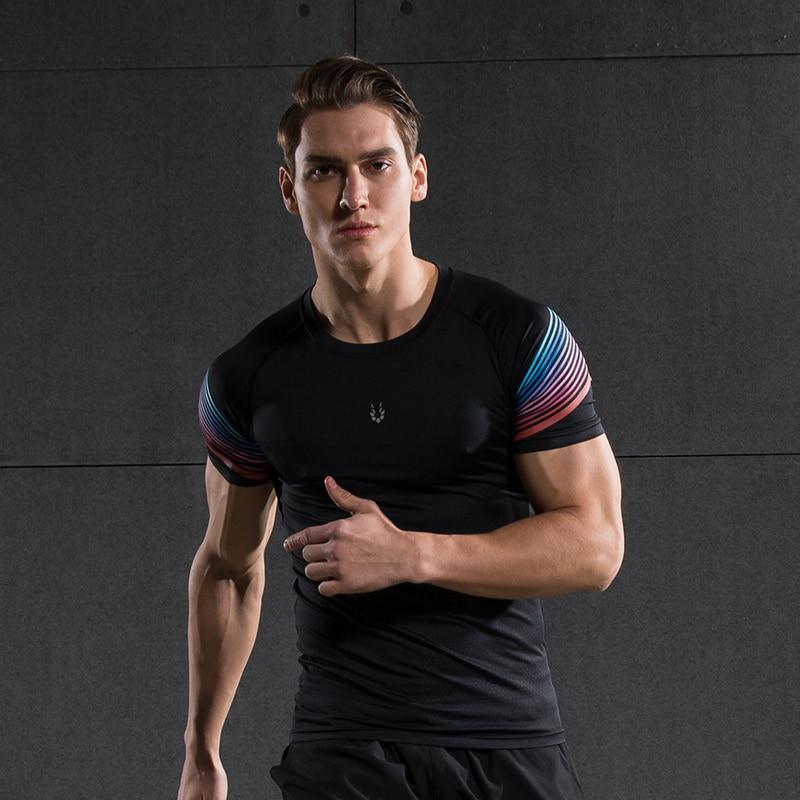 Heren Compressie Shirt Fitness Jogger Oefening Kleding Mode Casual T-shirt met korte mouwen
