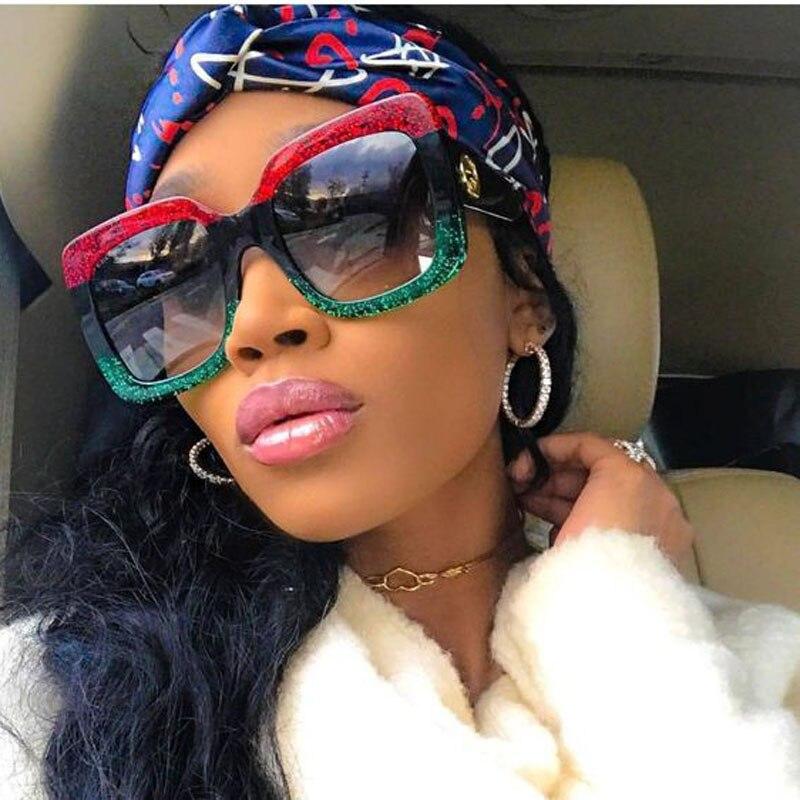 100% Wahr Platz Sonnenbrille Übergroßen Shades Luxus Marke Frauen Sonnenbrille Lunette Ombre Optyl Rot Grün Sonnenbrille Weiblichen Oculos Uv400