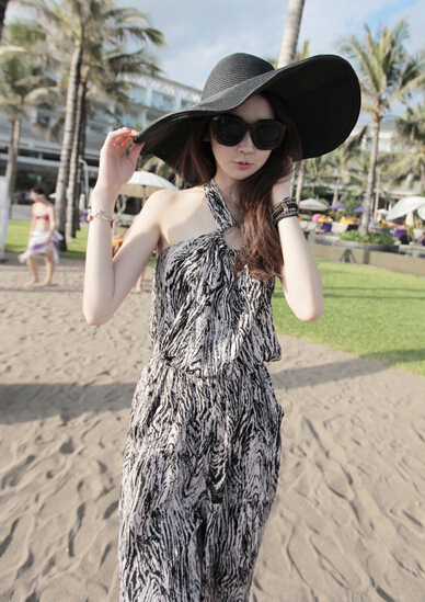 Free Shipping High Quality Hot Sale Korean Leisure Leopard Halter Neck Woman Chiffon Jumpsuit 2