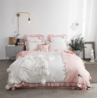2018 Cute cat Bedding Sets Luxury 4/7pcs pillowcase Embroidery Bedsheet Duvet Cover Bedspread Bedclothes Bed Linen for girls