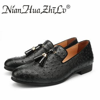 NIAN HUA ZHI LV Men Shoes Black Ostrich Leather Casual Shoes Golden Tassel Luxury Brand Loafers