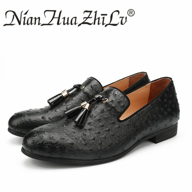 975396e5c6 NIAN HUA ZHI LV Men Shoes Black Ostrich Leather Casual Shoes Golden Tassel  Luxury Brand Loafers