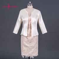 Beauty Emily Champange Mother Of The Bride Dresses 2017 A Line Knee Length Wedding Party Prom Dress vestido de noite with Jacket