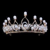 Wedding Jewelry Cystal Beads Pearl Gold Color Crown Tiaras For Women Gifts Bridal Dress Jewelry Hair