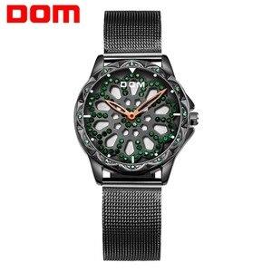 Image 5 - DOM cao cấp đầy sao Đồng hồ nữ thiết kế rỗng xoay 360 độ quay số thời trang nữ Đồng hồ đeo tay thạch anh Vòng tay đồng hồ