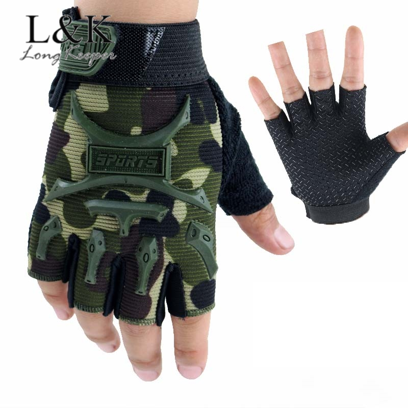 4-12 Years Old Kids Tactical Fingerless Gloves Military Camo Anti-Skid Mittens Half Finger Boys Children Sports Cycling Luvas