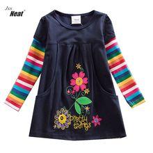 Girls Long Sleeve Cotton Dress Flowers rainbow long sleeve vestidos infantil children 100% cotton Princess Party dress H5802